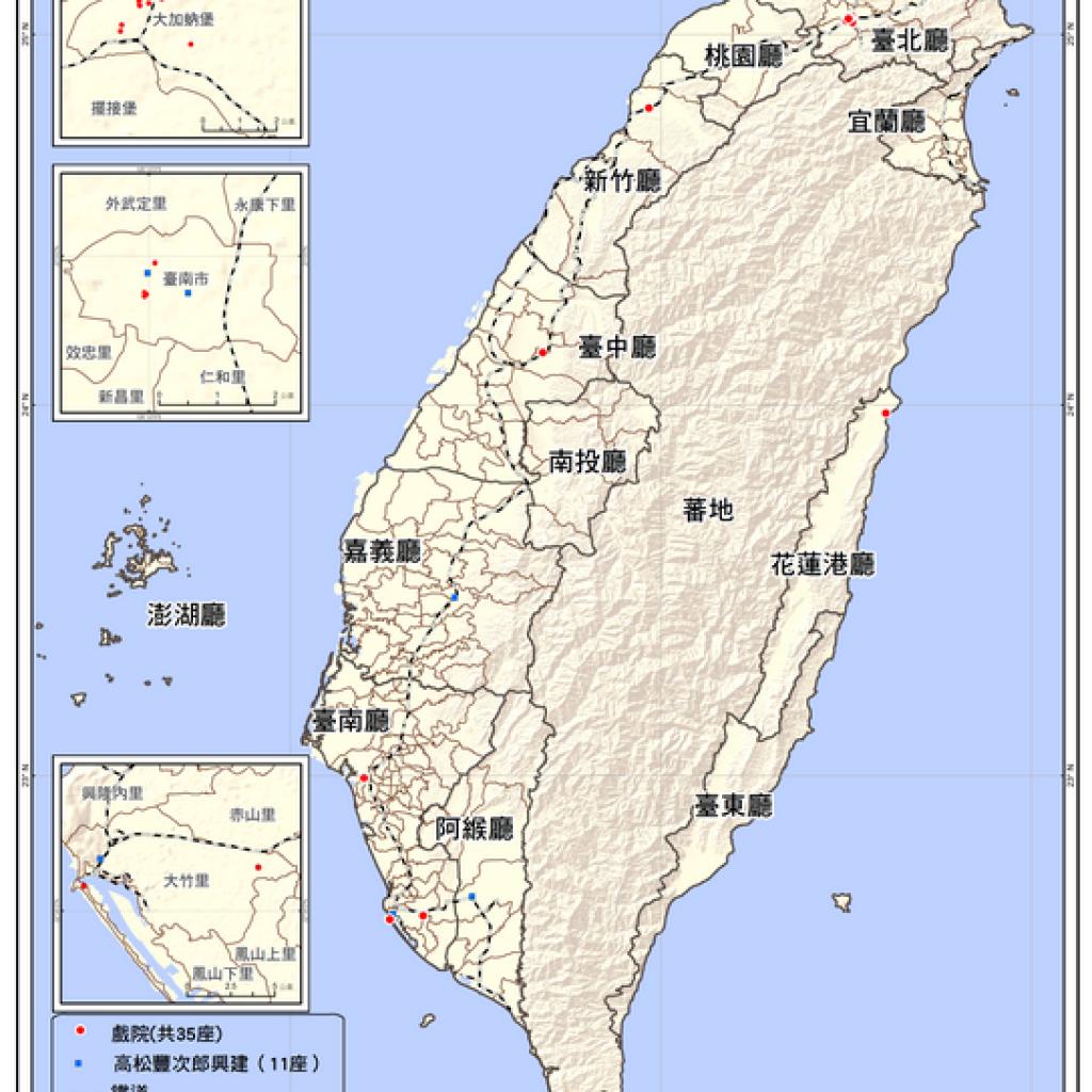 臺灣全島戲院分佈圖(1910-1919)