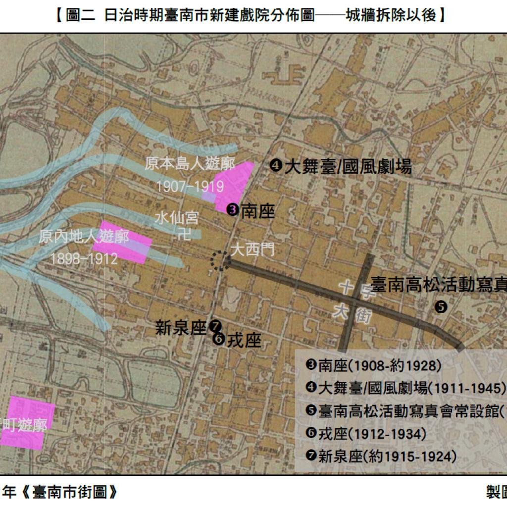 圖二 日治時期臺南市新建戲院分佈圖—城牆拆除以後